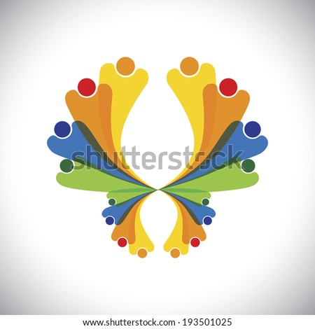 concept vector - people joyful & excited & having fun. This colorful graphic can also represent icons of children jumping, people celebrating, friends bonding, family get-together, kids playing - stock vector