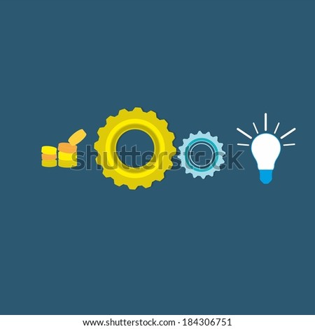 Concept vector with gear wheels. Abstract illustration. - stock vector
