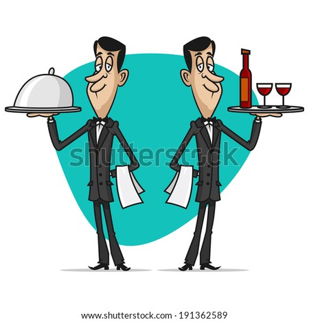 Concept waiters holds trays - stock vector