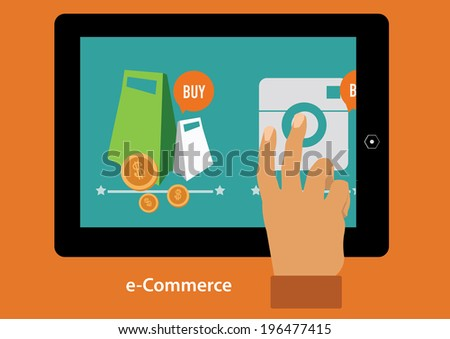 concept with icons of buying product via online shop and e-commerce ideas symbol  - stock vector