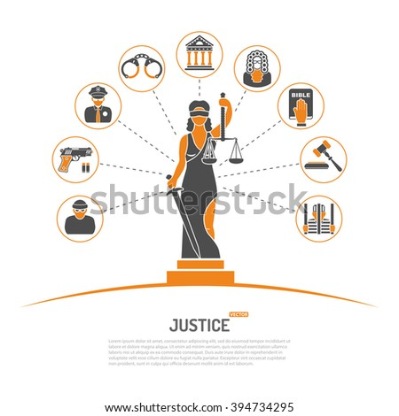 Concept with Lady Justice Statue and Flat Icons for Flyer, Poster, Web Site like Policeman, Thief, Judge, and Prison. - stock vector