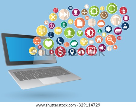 Concept with Laptop Computer on Web icons, Business icons and Technology icons for technology and business concept, Vector Illustration EPS 10. - stock vector