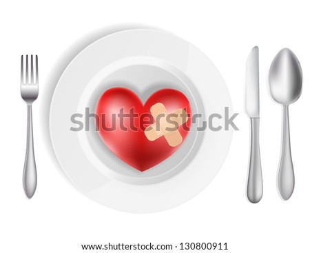 Concept with plate and heart - stock vector