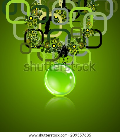 Concept with rectangles and sphere. Grunge elements on back. - stock vector