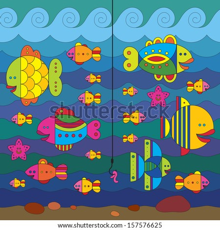 Concept with stylize fantasy fishes under water. - stock vector