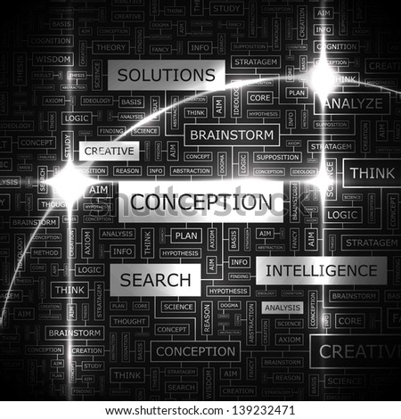 CONCEPTION. Word cloud concept illustration.