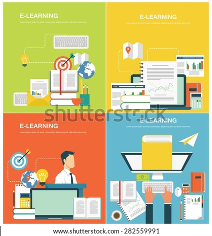 Concepts for web banners and promotions. Flat design concepts for e-learning - stock vector