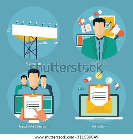 Concepts for web banners and promotions. Flat design concepts for promotion, candidate evaluation and email marketing - stock vector