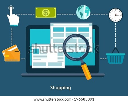 Concepts of online payment methods and purchase goods. Flat design of icons for web and mobile.  - stock vector