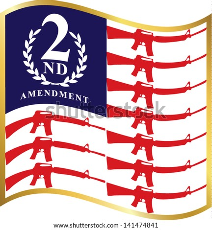 Conceptual american flag.Second amendment - U.S. Constitution.Vector illustration - stock vector