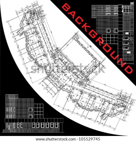Conceptual architectural background. Part of architectural project, architectural plan, technical project, drawing technical letters, architect at work, planning on paper, construction plan - stock vector