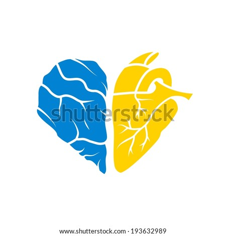 Conceptual art: human heart and half of a brain in the shape of heart, vector. Print for t-shirt, cases