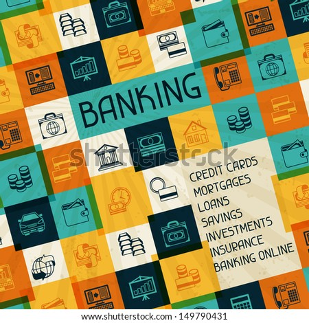 Conceptual banking and business background. - stock vector
