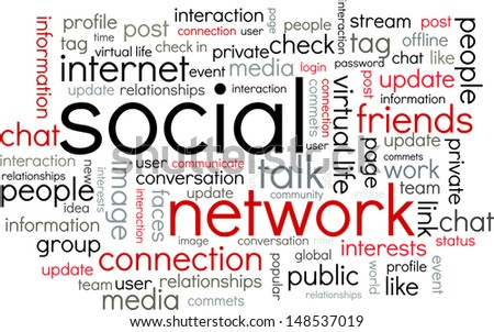 Conceptual black, grey and red font composition of different words about social networks - stock vector