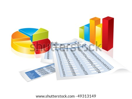 Conceptual business earnings reports and charts in editable vector format - stock vector