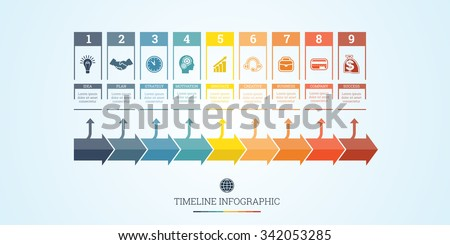 Conceptual Business Timeline Infographic, Vector design template for nine position can be used for workflow, banner, diagram, web design,  area chart - stock vector