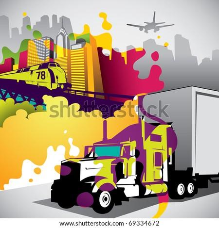 Conceptual colorful urban city background. Vector illustration. - stock vector