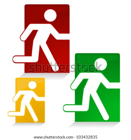Conceptual emergency Exit signs - stock vector