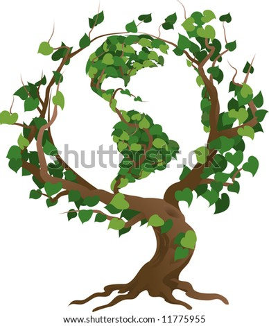 Conceptual environmental vector illustration. The globe growing in the branches of a tree.