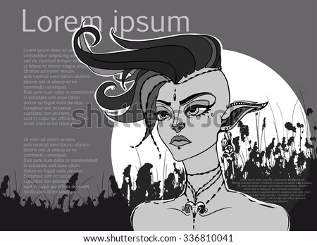 Conceptual fantasy character, vector illustration. Portrait of a elven punk girl with mohawk. Art for poster, flayer or t-shirt print.