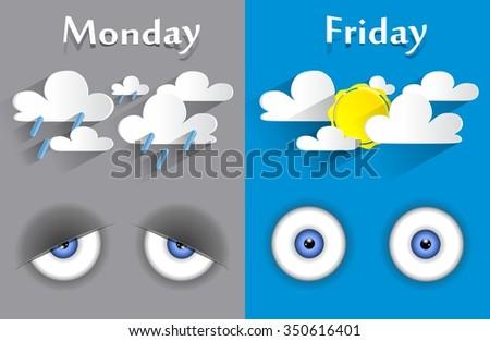 Conceptual feeling monday to friday vector illustration - stock vector