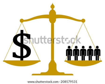 Conceptual financial and business vector illustration of a brass antique pendulum scale with people on one pan and a dollar sign on the other showing balance - stock vector