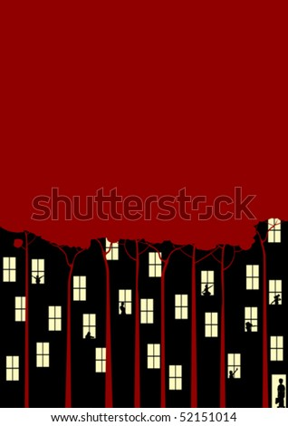Conceptual forest/city illustration with room for text - stock vector