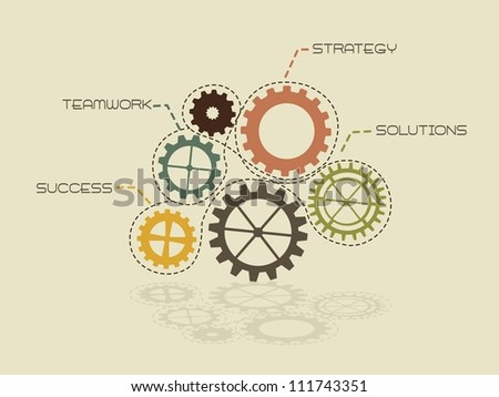 conceptual gears of strategy, vintage. vector illustration - stock vector