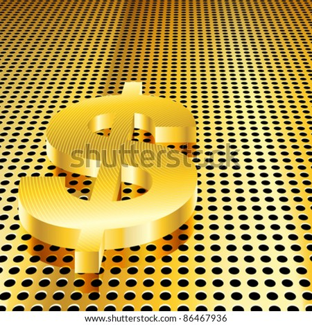 Conceptual gold dollar background (EPS10 - Gradient, Transparency, Mesh) - stock vector
