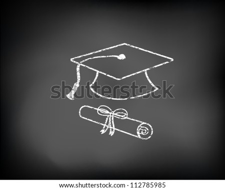Conceptual graduation background drawn on black chalkboard with graduation cap and diploma. Vector Illustration. - stock vector