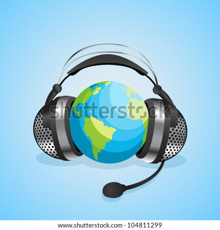Conceptual graphic for on-line chat, worl communication with headphones over a globe. Abstract art