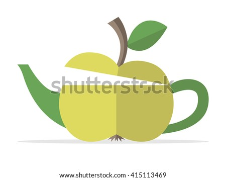 Conceptual green apple teapot. Food, fruit, beverage, drink, nature, healthy lifestyle, breakfast, freshness and fitness concept. EPS 8 vector illustration, no transparency - stock vector