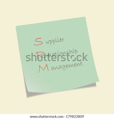 Conceptual hand drawn SRM acronym written on piece of paper. Supplier relationship management. - stock vector