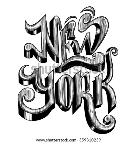 Conceptual handwritten phrase New York City on a white background. illustration. Vector