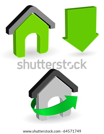 conceptual house icon with arrows - stock vector
