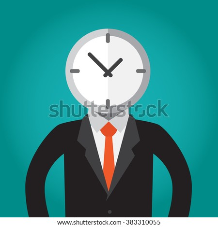 Conceptual illustration about think in time.A businessman with a clock head.