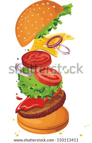 Conceptual illustration-flying ingredients of hamburger. - stock vector