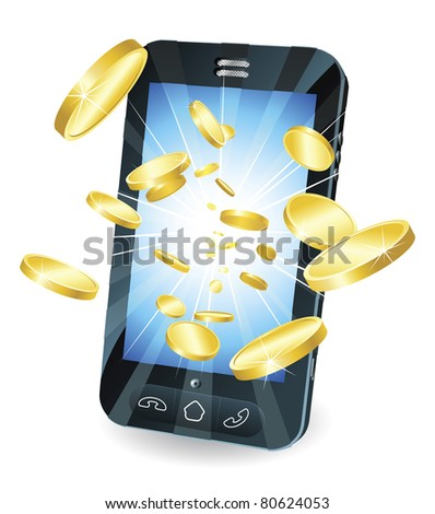 Conceptual illustration. Money in form of gold coins flying out of new style smart mobile phone. - stock vector