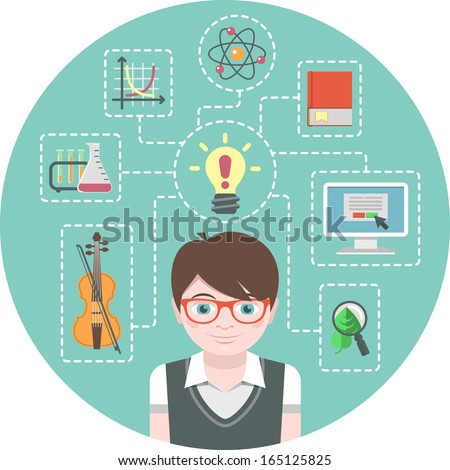 Conceptual illustration of a genius boy and symbols of his various interests - stock vector