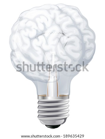 Conceptual illustration of a light bulb shaped like a human brain. Concept for ideas inspiration or similar - stock vector
