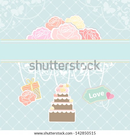 Conceptual illustration of cake, decoration and clouds as roses. - stock vector