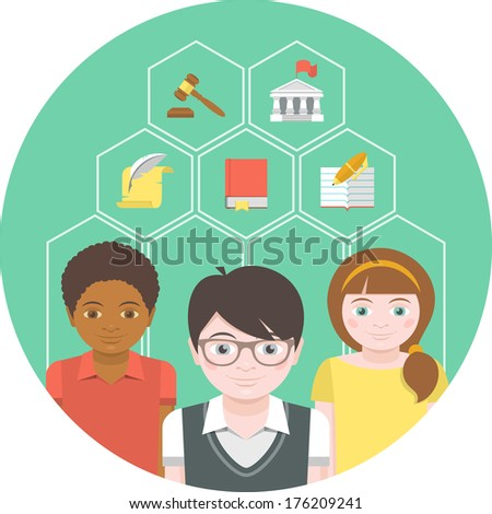 Conceptual illustration of children with different symbols of humanities - stock vector