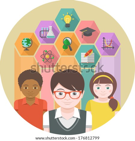 Conceptual illustration of children with different symbols of sciences in colored hexagons - stock vector