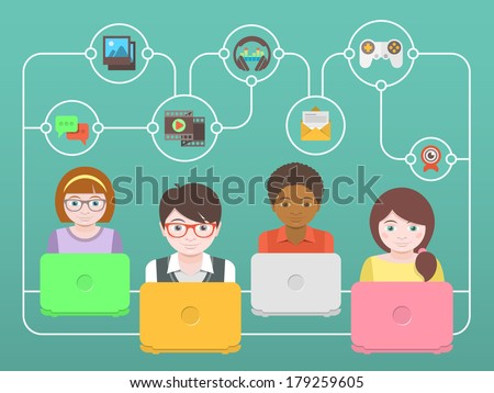 Conceptual illustration of children with laptops that share multimedia information on the Internet - stock vector