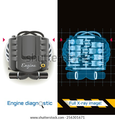 Conceptual illustration of engine diagnostics. X-ray image of the internal combustion engine. - stock vector