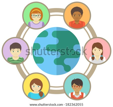 Conceptual illustration of multiracial children connected around the world - stock vector