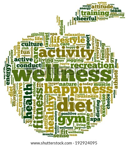 Conceptual illustration of tag cloud containing words related to diet, wellness, fitness and healthy lifestyle in the shape of an apple. - stock vector