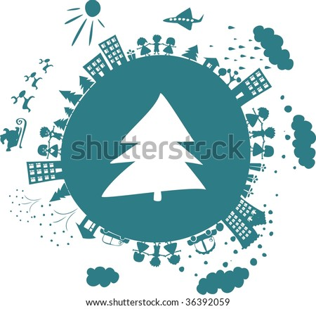 conceptual illustration of the globe with icon of new year tree on - stock vector