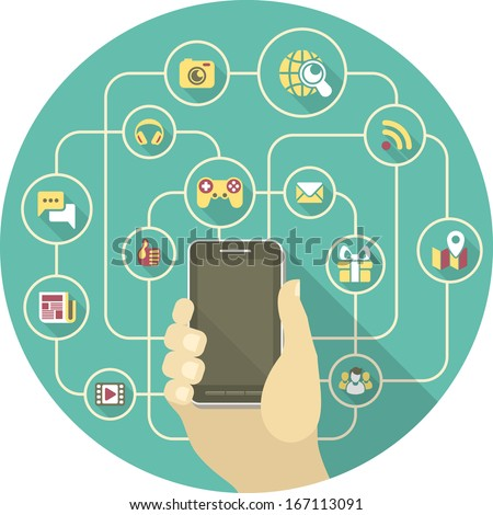 Conceptual illustration of the social interaction in a network using a smart phone - stock vector