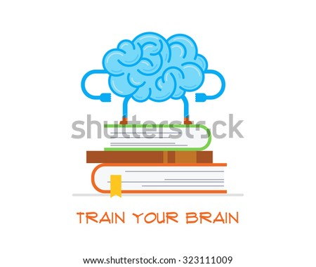Conceptual illustration of training your brain. Brain stays on the stack of books. - stock vector
